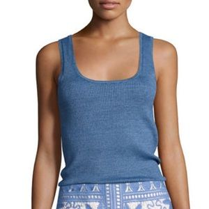 Tory Burch Gabrielle Scoopneck Tank Blue Large NWT